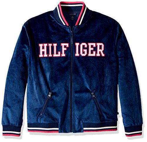 Tommy Hilfiger Girls' Big Velour Track Jacket, Flag Blue, Medium