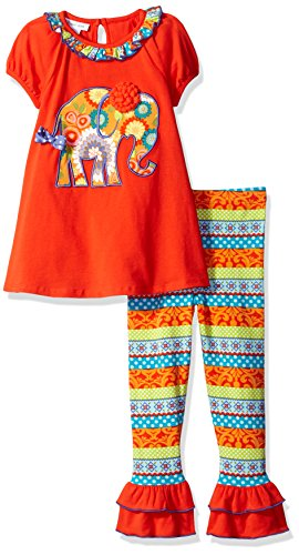 Bonnie Jean Little Girls' Toddler Elephant Appliqued Knit Legging Set, Orange, 2T