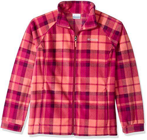 Columbia Big Girls' Benton Springs Ii Printed Fleece Jacket, Hot Coral Plaid, Medium