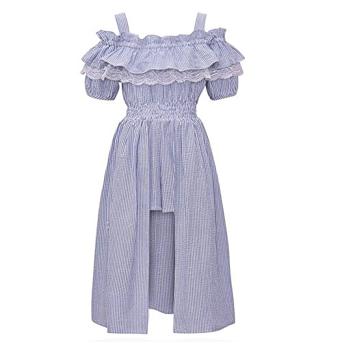 77eb0f2ceaa7 Bonnie Jean Big Girls Blue Ruffle Maxi Skirt Overlay Cold Shoulder Romper 8