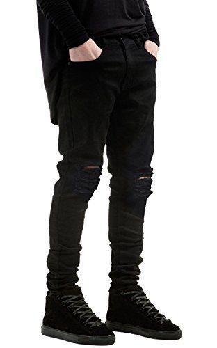 Qazel Vorrlon Men's Slim Fit Black Stretch Destroyed Ripped Skinny Denim Jeans W36×32L