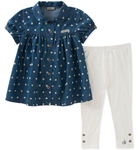 Calvin Klein Toddler Girls' 2 Pieces Tunic Leggings Set, Navy/White, 3T