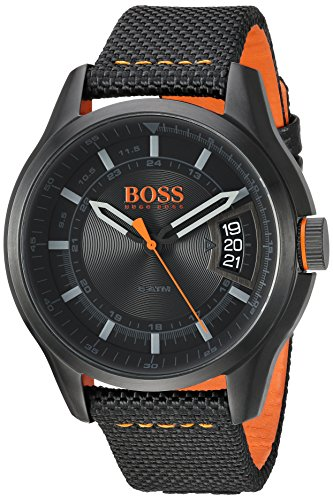 Hugo BOSS Men's 'Hong Kong Sport' Quartz Resin and Nylon Casual Watch, Color Black