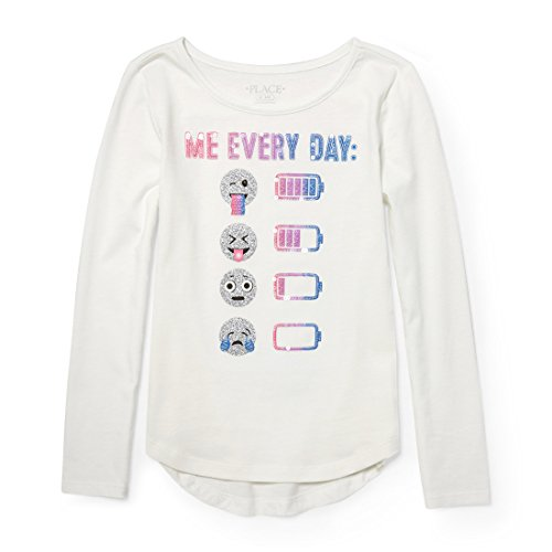 The Children's Place Big Girls' Long Sleeve T-Shirt 3, Simplywht, M (7/8)