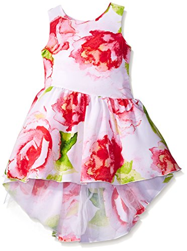 Sweet Heart Rose Little Girls Floral Koshibo Asymmetrical Dress with High-Low Hemline, Multi, 6
