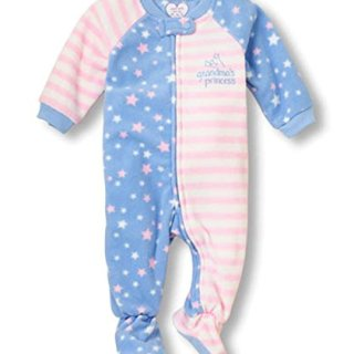 The Children's Place Toddler Girl's Size 5T Blue Grandma's Princess Fleece Blanket Footed Pajama Sleeper