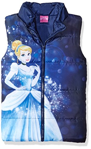 Disney Little Girls' Toddler Cinderella Puffer Vest, Blue, 3T