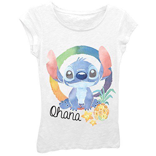 Disney Big Girls' Lilo Ohana Stitch Short Sleeve Tee, White, M