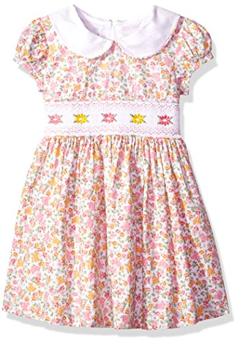 Bonnie Jean Little Girls' Collared Cotton Dress, Pink/Yellow, 6