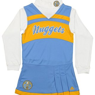adidas NBA Girl's Denver Nuggets Cheer Jumper Dress, Blue/Yellow Large (14)