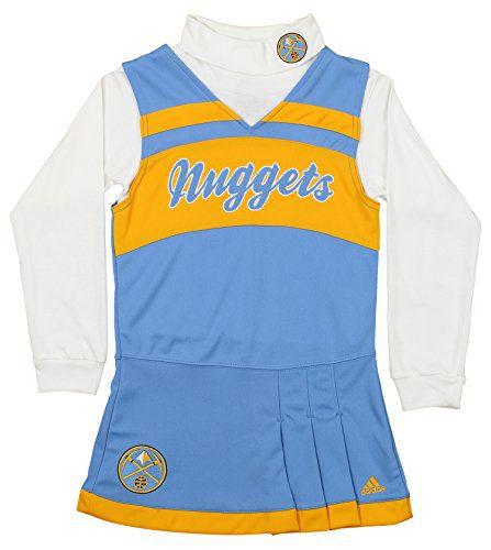 adidas NBA Girl's Denver Nuggets Cheer Jumper Dress, Blue/Yellow Large (14)
