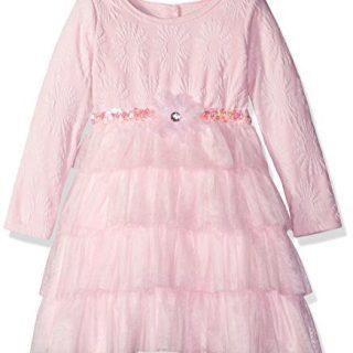 Sweet Heart Rose Little Girls' Knit Jacquard Dress with Mesh Tutu Tiers, Pink, 6
