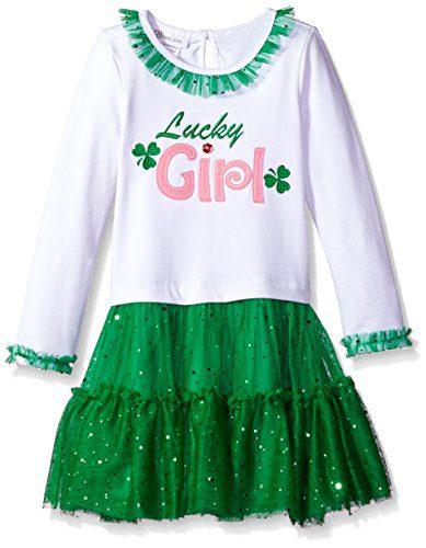Bonnie Jean Little Girls' Appliqued Tutu Dress, Lucky Girl, 6