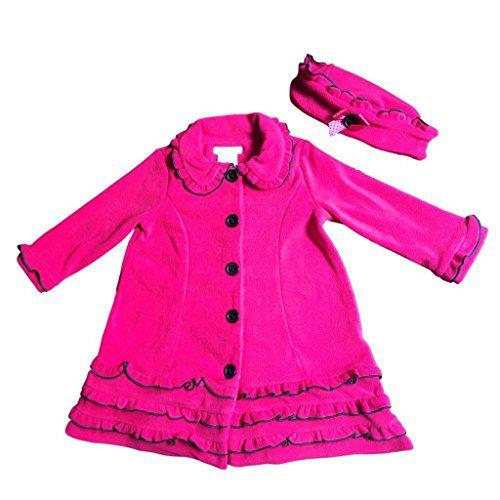 Bonnie Jean Little Girls Ruffled Fleece Coat and Hat Set, Fuschia, Sz 5