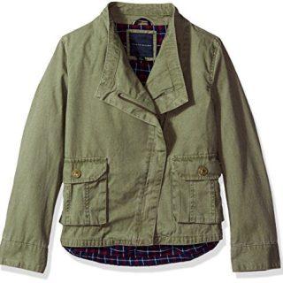 Tommy Hilfiger Big Girls' Cargo and Plaid Jacket, Sagier Green, X-Large