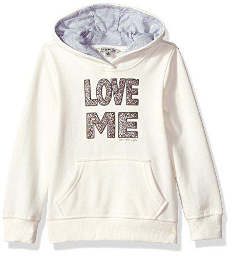 Calvin Klein Toddler Girls' Love Me Popover Hoodie, Cream, 4T