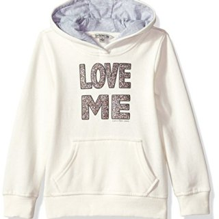Calvin Klein Toddler Girls' Love Me Popover Hoodie, Cream, 4T