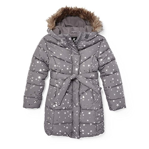 The Children's Place Girls Printed Long Puffer Jacket, Steamboat, XXL(16)