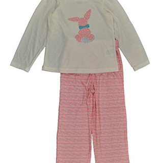 Calvin Klein Little Girls White & Pink 2pc Flannel Pajama Pant Set (3T)