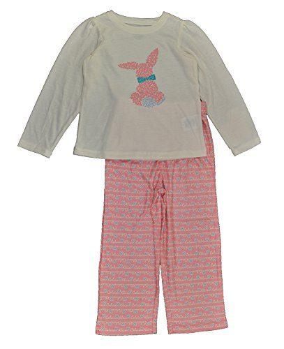 Calvin Klein Little Girls White & Pink 2pc Flannel Pajama Pant Set (3T)