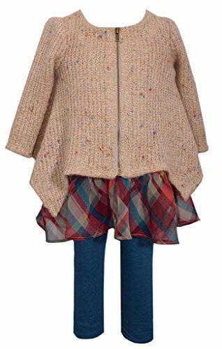 Bonnie Jean 2 Pc Sweater and Legging Set, Girls, Multi-Color, Sz 6