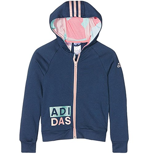 Adidas Traning Hoodie - Girls - Mineral Blue /Ray Pink - Age 4-5