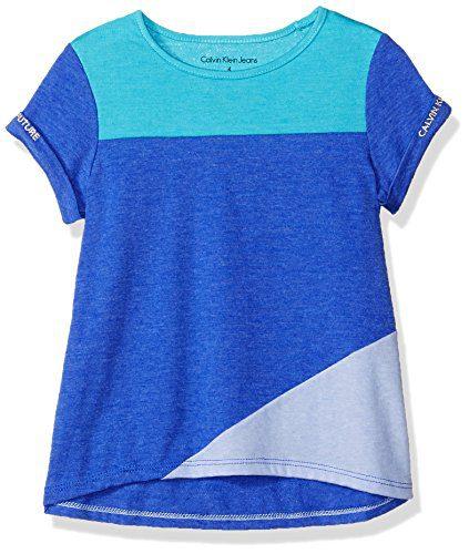 Calvin Klein Little Girls' Calvin Graphic Tee, Color Block Blue, 5