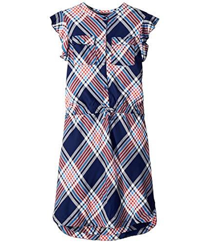 Tommy Hilfiger Big Girls' Plaid Shirt Dress, Flag Blue, Small (7)
