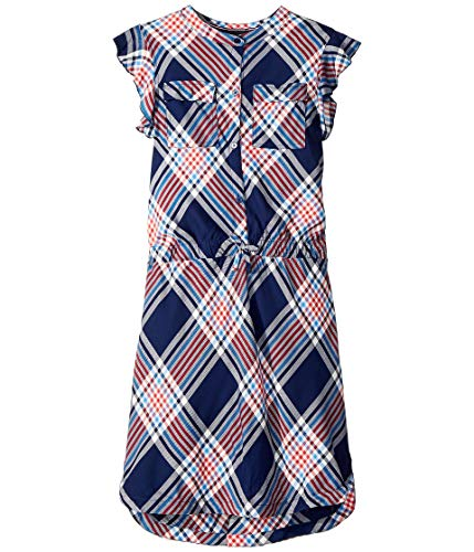 Tommy Hilfiger Big Girls' Plaid Shirt Dress, Flag Blue, Small (7)