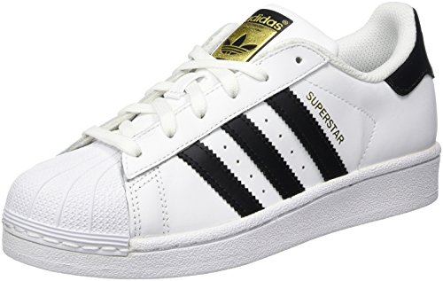 adidas Originals Superstar J Casual Low-Cut Basketball Sneaker (Big Kid),White/Black/White,6 M US Big Kid