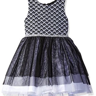 Sweet Heart Rose Little Girls' Novelty Knit Bodice Special Occasion Dress with Tulle Layered Skirt, Black/Ivory, 6X