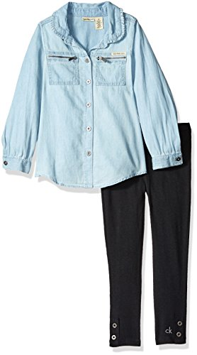 Calvin Klein Little Girls' Shirt Tunic with Leggings Set, Blue, 5