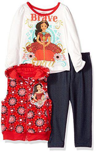 Disney Toddler Girls' 3 Piece Elena of Avalor Vest Set, Red, 3T