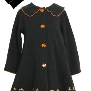 Bonnie Jean Girls Jack-O'-Lantern Halloween Fall Winter Coat & Hat, Black, 5