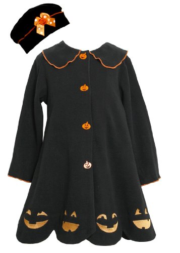 Bonnie Jean Girls Jack-O'-Lantern Halloween Fall Winter Coat & Hat, Black, 5
