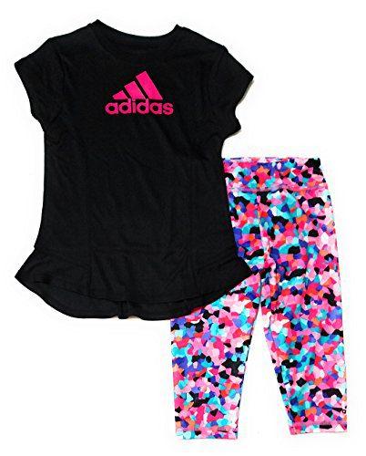 adidas Toddler Girls 2pc Athletic Shirt and Leggings Set, Black (2T)