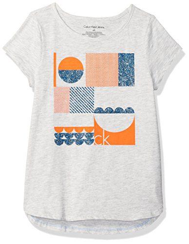 Calvin Klein Little Girls' Calvin Graphic Tee, Light Grey Heather, 4