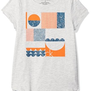 Calvin Klein Little Girls' Calvin Graphic Tee, Light Grey Heather, 4