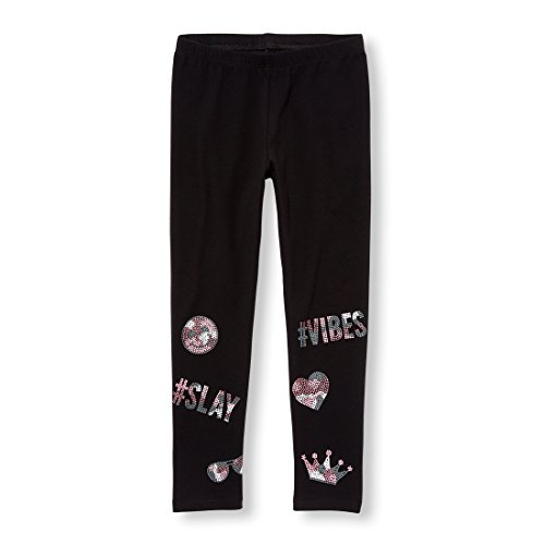 The Children's Place Big Girls' Printed Fashion Legging, Black, M (7/8)