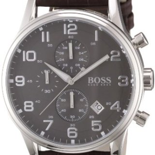 Hugo Boss Leather Mens Watch - Black Dial