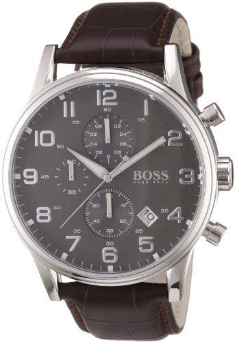 Hugo Boss Leather Mens Watch - Black Dial