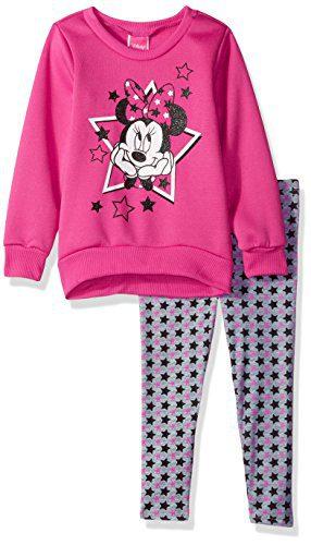 Disney Little Girls' 2 Piece Minnie Sweatshirt with Legging, Pink, 5