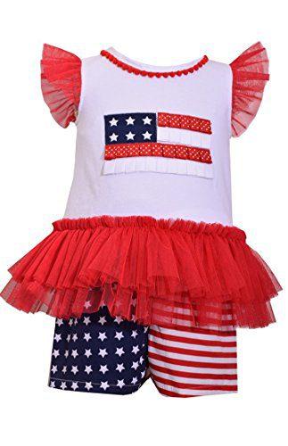 Bonnie Jean Girls Patriotc 4th Of July American Flag Shorts (0m-6x) (3-6 Months)
