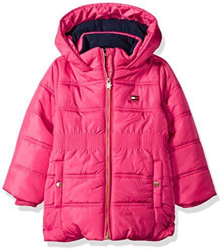 Tommy Hilfiger Toddler Girls' Quilted Puffer Jacket, Lollipop, 4T
