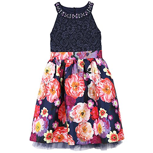 Speechless Big Girls' Lace Bodice Dress with Printed Skirt, Ink Floral, 16