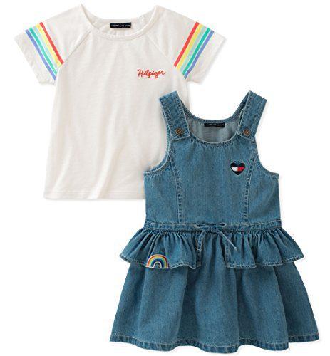 Tommy Hilfiger Toddler Girls' Jumper Set, Blue/White, 3T