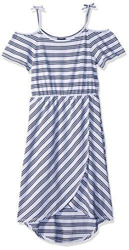 Tommy Hilfiger Big Girls' Fashion Maxi Dress, White Stripes, Medium