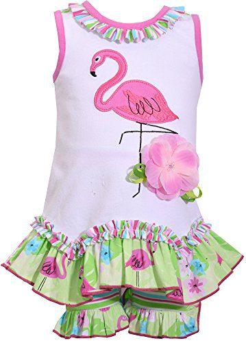 Bonnie Jean Toddler Girls Flamingo Flower Shorts Set 4T White/Green/Pink