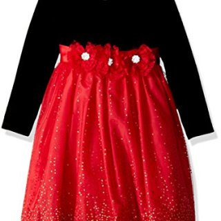 Bonnie Jean Toddler Girls' Little Long Sleeve Stretch Velvet Party Dress, Black/Red, 4T