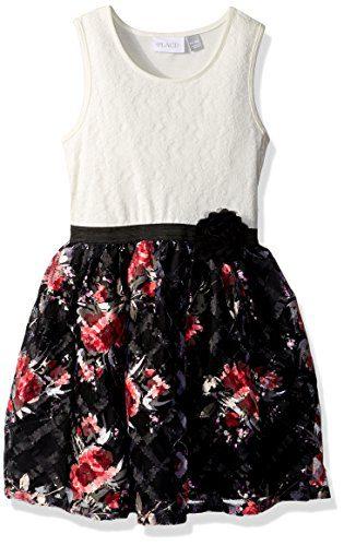 Children's Place Big Girls' Sleeveless Dressy Dresses, Black